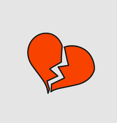 Broken heart with crack cartoon sticker in comic vector