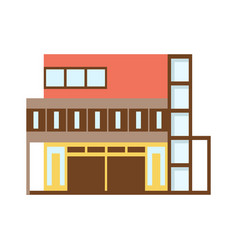 brown and red shopping mall modern building vector image