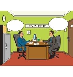 Businessman in bank pop art retro style vector image