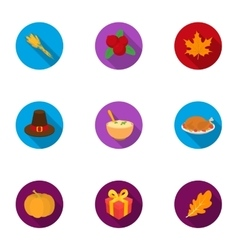 Canadian Thanksgiving Day set icons in flat style vector