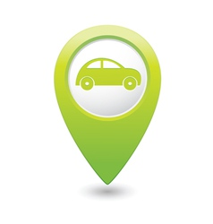 Car icon on map pointer green vector
