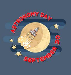 Cartoon space rocket and moon celestial vector