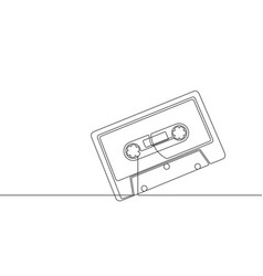 cassette tape continuous line graphic vector image