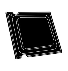 Central processing unit icon in black style vector