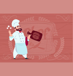 chef cook hold board smiling cartoon restaurant vector image