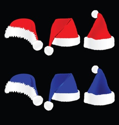 christmas hat red and blue on black background vector image