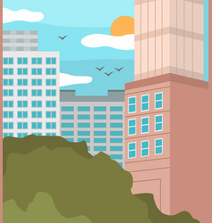 cityscape with building blue sky white clouds and vector image