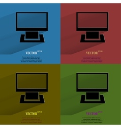Color set Computer Flat modern web button with vector image