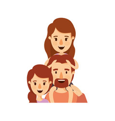 Colorful caricature half body family with mother vector