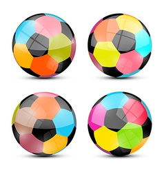 Colorful Football Balls Set vector image