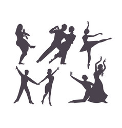 couples dancing silhouette latin american romantic vector image