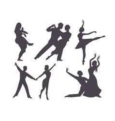 Couples dancing silhouette latin american romantic vector