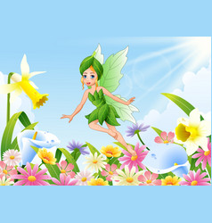 cute fairy flying on flower field vector image