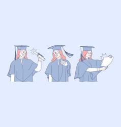 Education graduation success diploma set vector
