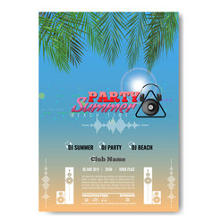 Exotic or tropic summer dj party concert poster vector