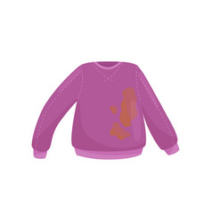 Flat icon purple woolen sweater with big vector