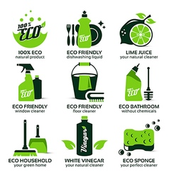 Flat icon set for green eco cleaning vector