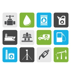 Flat oil and petrol industry objects icons vector image