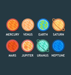 flat set of solar system planets in cartoon vector image