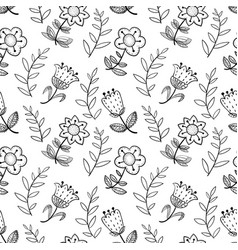 floral seamless pattern with abstract doodle vector image