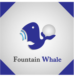 fountain whale icon logo vector image