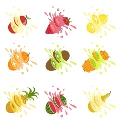 Fruits Cut In The Air Splashing The Juice vector image