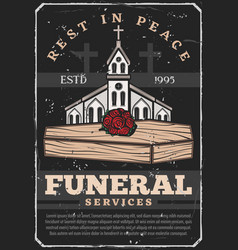 Funeral service coffin burial and church vector