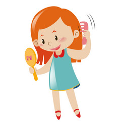 Girl Holding Mirror And Comb Royalty Free Vector Image