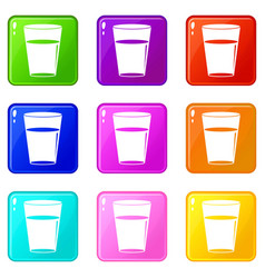 Glass water icons 9 set vector
