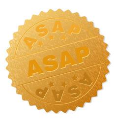 Gold asap medallion stamp vector