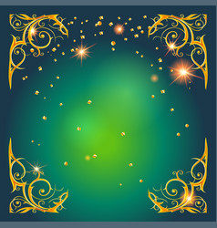 Gold holiday frame on green vector
