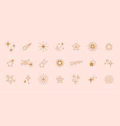 Golden stars line art icon star for logo vector