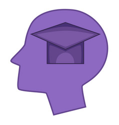 Graduation cap inside human head icon vector