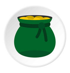 Green bag full of gold coins icon circle vector