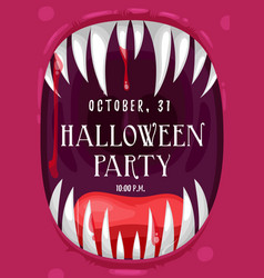 Halloween party poster in screaming vampire frame vector
