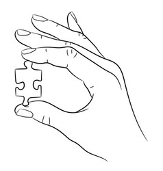 hand holding a puzzle on white background vector image
