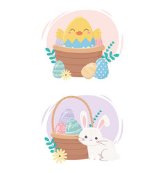 happy easter day bunny chicken basket eggs vector image