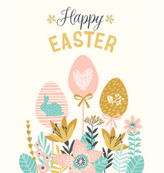 Happy easter template for card poster vector