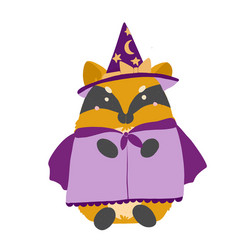 happy halloween kawaii chanterelle fox witch in a vector image