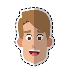 Happy handsome blonde man cartoon icon image vector