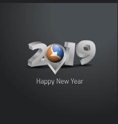 Happy new year 2019 grey typography with tierra vector