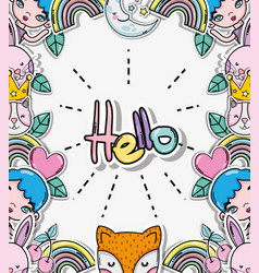 hello card with cute cartoons vector image