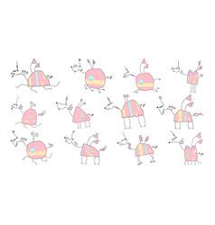 herd of pink unicorns - doodle vector image