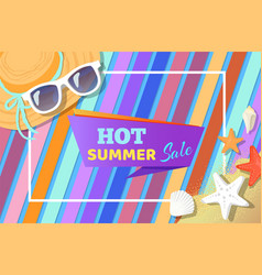 hot summer sale poster with summertime attributes vector image