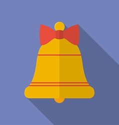 Icon of Christmas Bell with a bow Flat style vector image