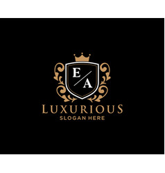 Initial ea letter royal luxury logo template vector