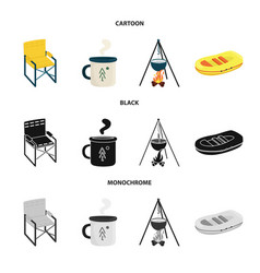 isolated object trekking and wildlife sign set vector image