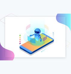 isometric artificial intelligence chatbot and vector image