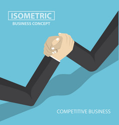 isometric businessman hands doing arm wrestling vector image