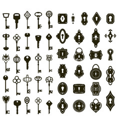 Keys and keyholes vintage house door keys and vector